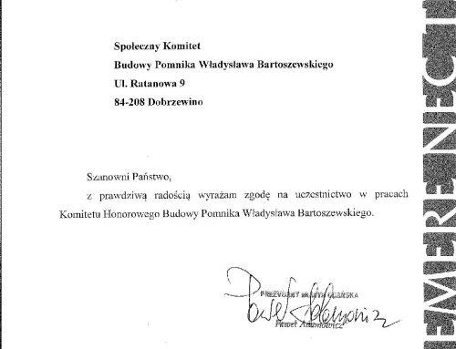 Prezydent Gdańska – Członkiem Komitetu Honorowego